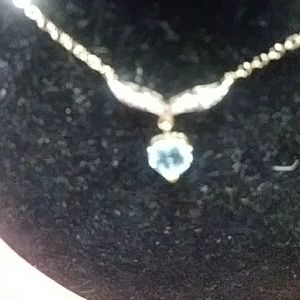 Designers Originals Jewelry - 18 k Gold Necklace over Sterling Silver. Dia Topaz
